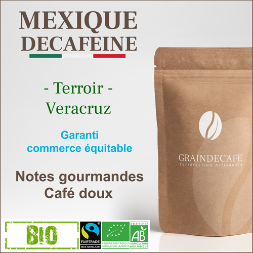 Café en grain | Mexique décaféiné - Fairtrade - Bio : 250 Gr
